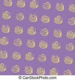 cartoon cake seamless  pattern