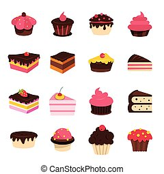 Cartoon cake set isolated on white background