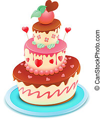 cartoon cake - Vector illustration of a romantic tiered cake...