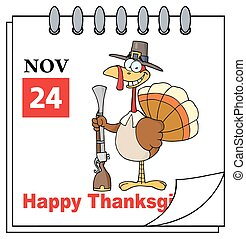 Cartoon Calendar Page Turkey With Pilgrim Hat and Musket....