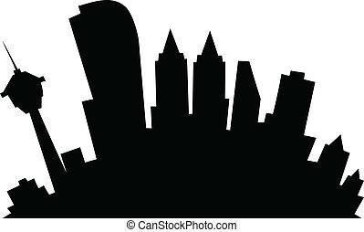 Cartoon Calgary - Cartoon skyline silhouette of the city of...