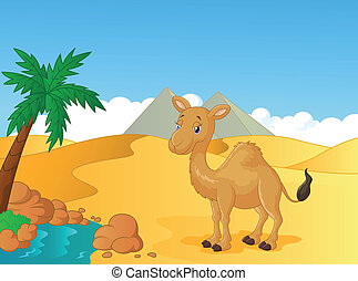 Cartoon camel with desert backgroun