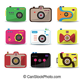 cartoon camera icon set