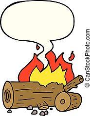 cartoon camp fire and speech bubble