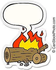 cartoon camp fire and speech bubble sticker