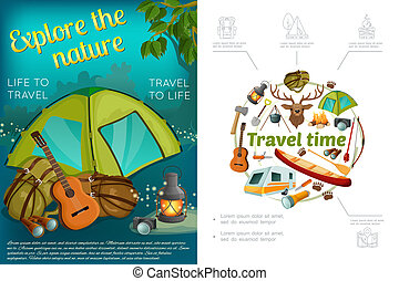 Cartoon Camping Colorful Concept