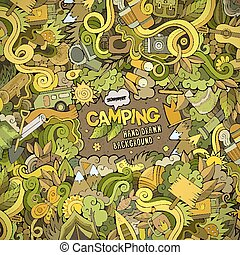 Cartoon Camping frame background - Cartoon vector doodles...