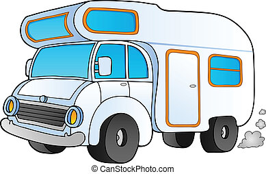 Cartoon camping van - vector illustration.