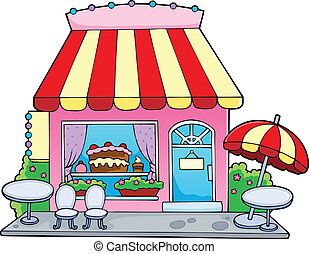 Cartoon candy store - vector illustration.