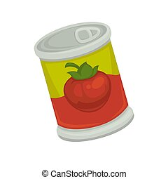 Cartoon canned strawberry in bright container isolated illustration