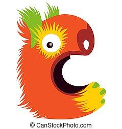 Cartoon capital letter C from monster alphabet