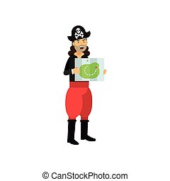 Cartoon captain of pirate vessel standing with treasure map in his hands isolated on white