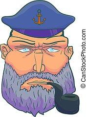 Cartoon Captain sailor face with Beard, Cap and Smoking Pipe. Vector