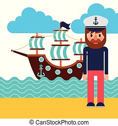 cartoon captain sailor in uniform with the ship