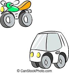 Cartoon car and motorcycle vector illustration