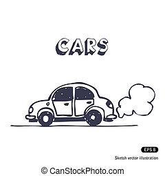 Cartoon car blowing exhaust fumes. Hand drawn vector...