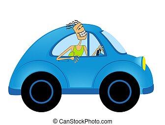 cartoon car - cartoon happy man on car on white background