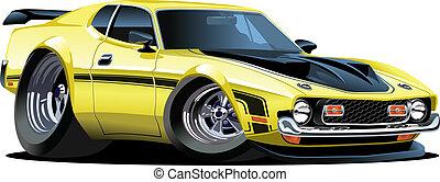 Cartoon car - Cartoon retro car isolated on white background...