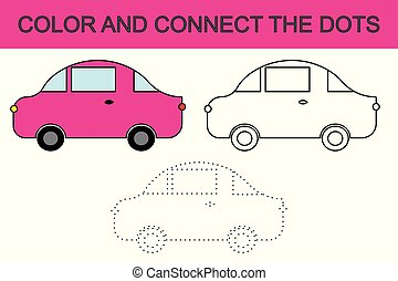 Cartoon car. Coloring page. Connect the dots. Kids game. Vector illustration.