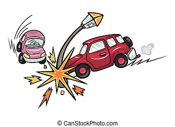 Cartoon car crashed into a lamppost