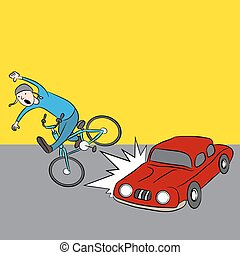Cartoon Car Hits Bike Rider