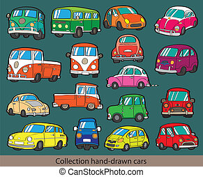 cartoon car icon set