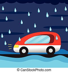 cartoon car in the rain