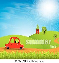 Cartoon car on a background summer landscape