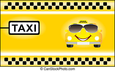 cartoon car on taxi background