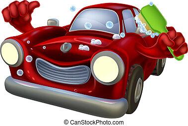 Cartoon car wash - Cartoon soapy car wash character giving a...