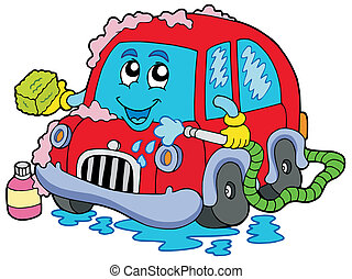 Cartoon car wash - vector illustration.