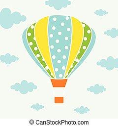 cartoon card with air balloons