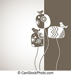 Cartoon card with birds and tree