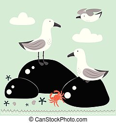 cartoon card with gulls - funny seagulls in a flat style,...