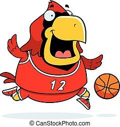 Cartoon Cardinal Basketball