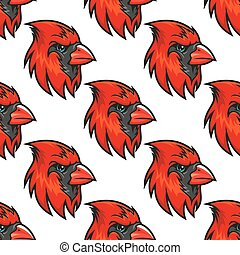 Cartoon cardinal birds seamless pattern