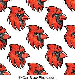 Cartoon cardinal birds seamless pattern