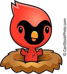 Cartoon Cardinal Nest - A cartoon illustration of a baby...
