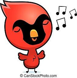 A cartoon illustration of a baby cardinal singing.