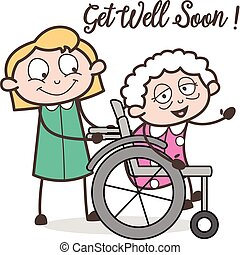 Cartoon Care Taker Nurse with Sick Granny Vector...