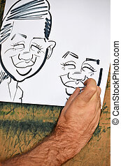 cartoon caricature - Man drawing a caricature drawing.