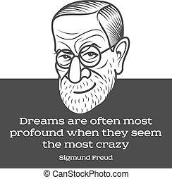 Cartoon caricature portrait of Sigmund Freud