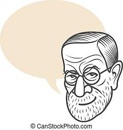 Cartoon caricature portrait of Sigmund Freud - Vector...