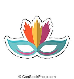 cartoon carnival mask with feathers