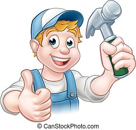 Cartoon Carpenter Handyman Holding Hammer