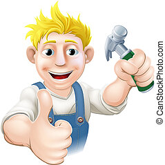 An illustration of a happy cartoon carpenter or construction guy holding a hammer