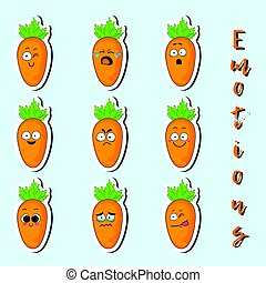 Cartoon carrot cute character face sticker.