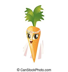 Cartoon carrot giving thumbs up on a white background