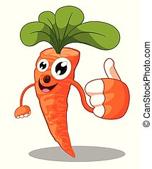 Cartoon carrot giving thumbs up - Vector illustration
