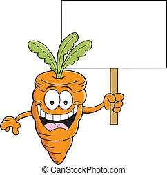 Cartoon carrot holding a sign
